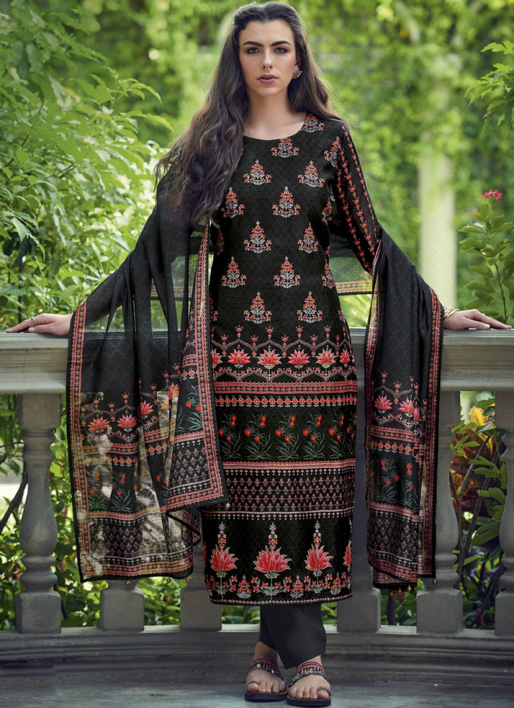 Silk Embroidered Black Designer Salwar Kameez