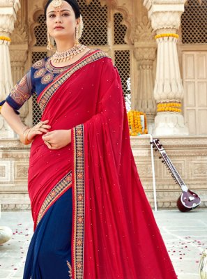 Silk Embroidered Blue and Red Classic Designer Saree