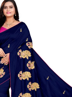 Silk Embroidered Blue Classic Saree