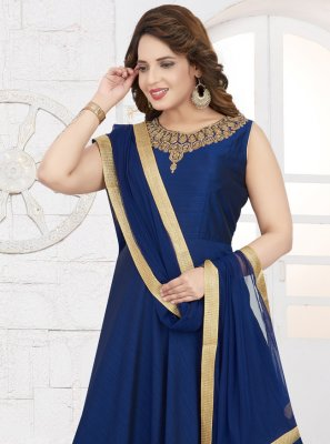 Silk Embroidered Blue Readymade Salwar Kameez