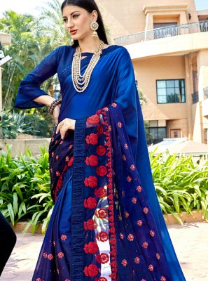 Silk Embroidered Blue Silk Saree