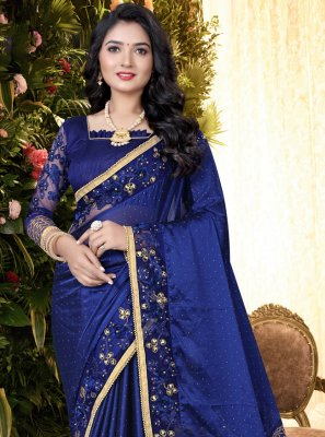 Silk Embroidered Blue Traditional Saree