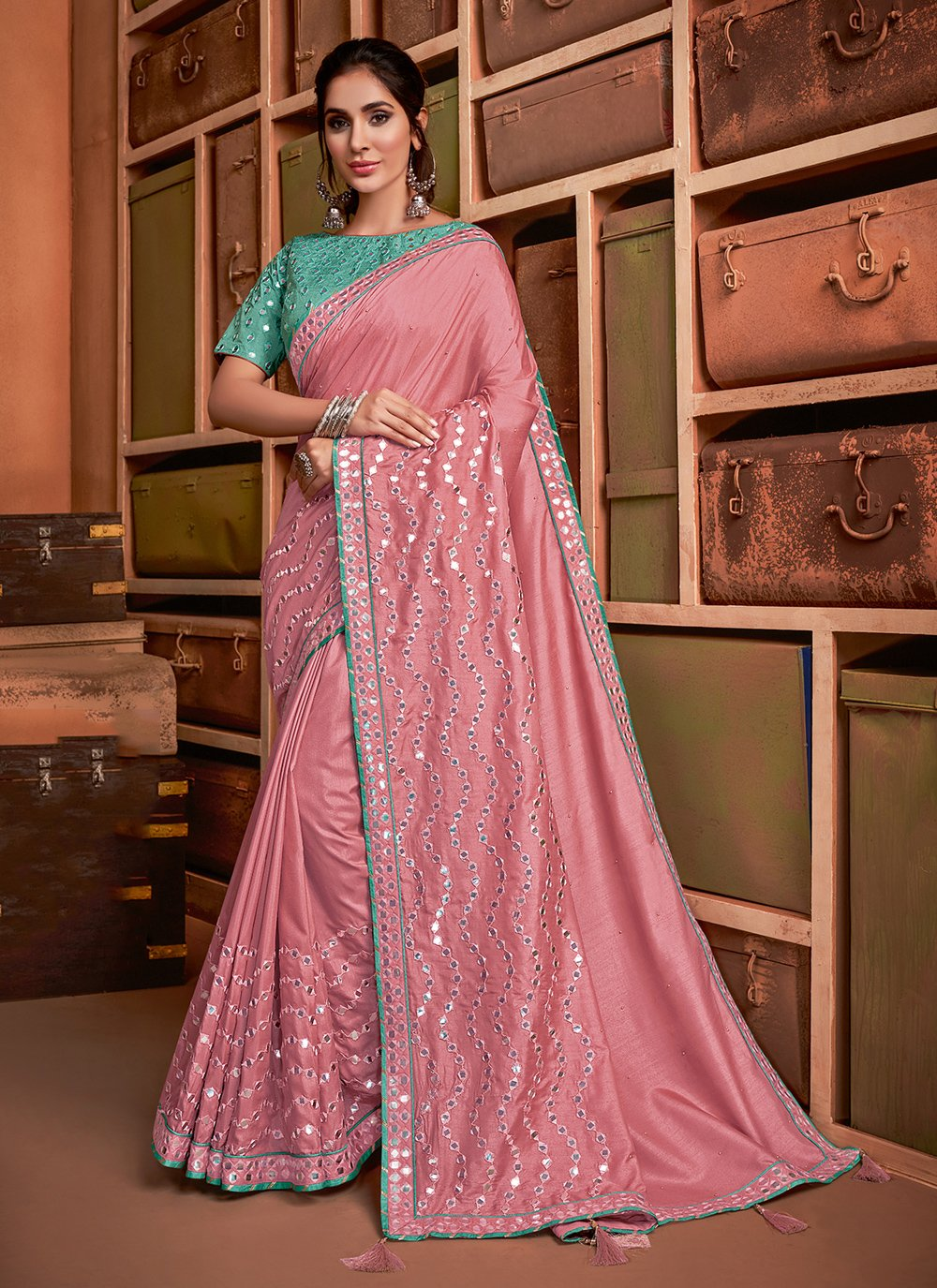 Silk Embroidered Bollywood Saree in Pink