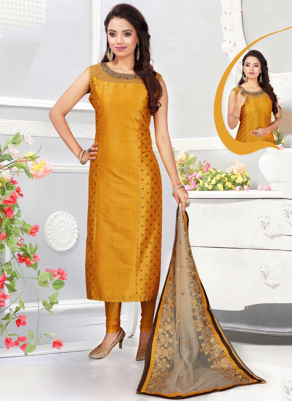 Silk Embroidered Churidar Designer Suit in Mustard