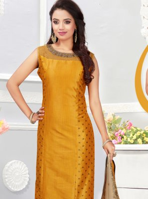 Silk Embroidered Churidar Designer Suit in Mustard