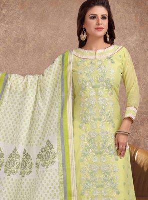 Silk Embroidered Churidar Salwar Kameez