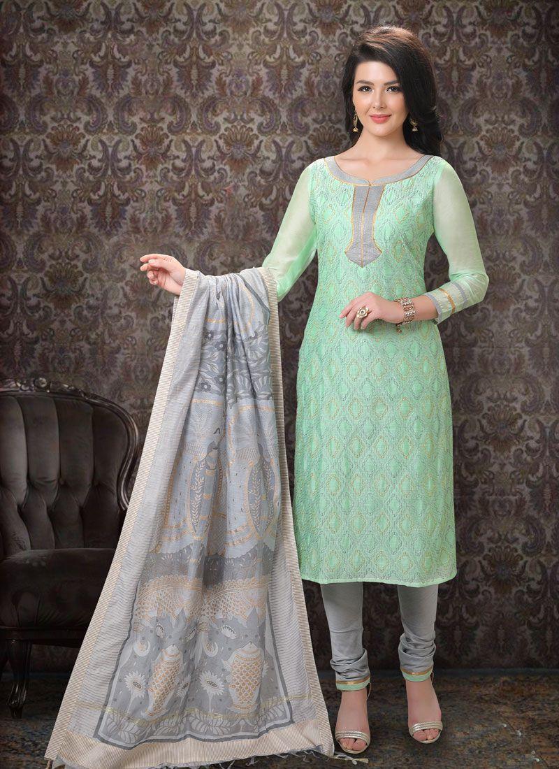 Silk Embroidered Churidar Suit