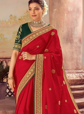 Silk Embroidered Classic Designer Saree in Red