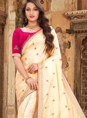 Silk Embroidered Classic Saree in Cream
