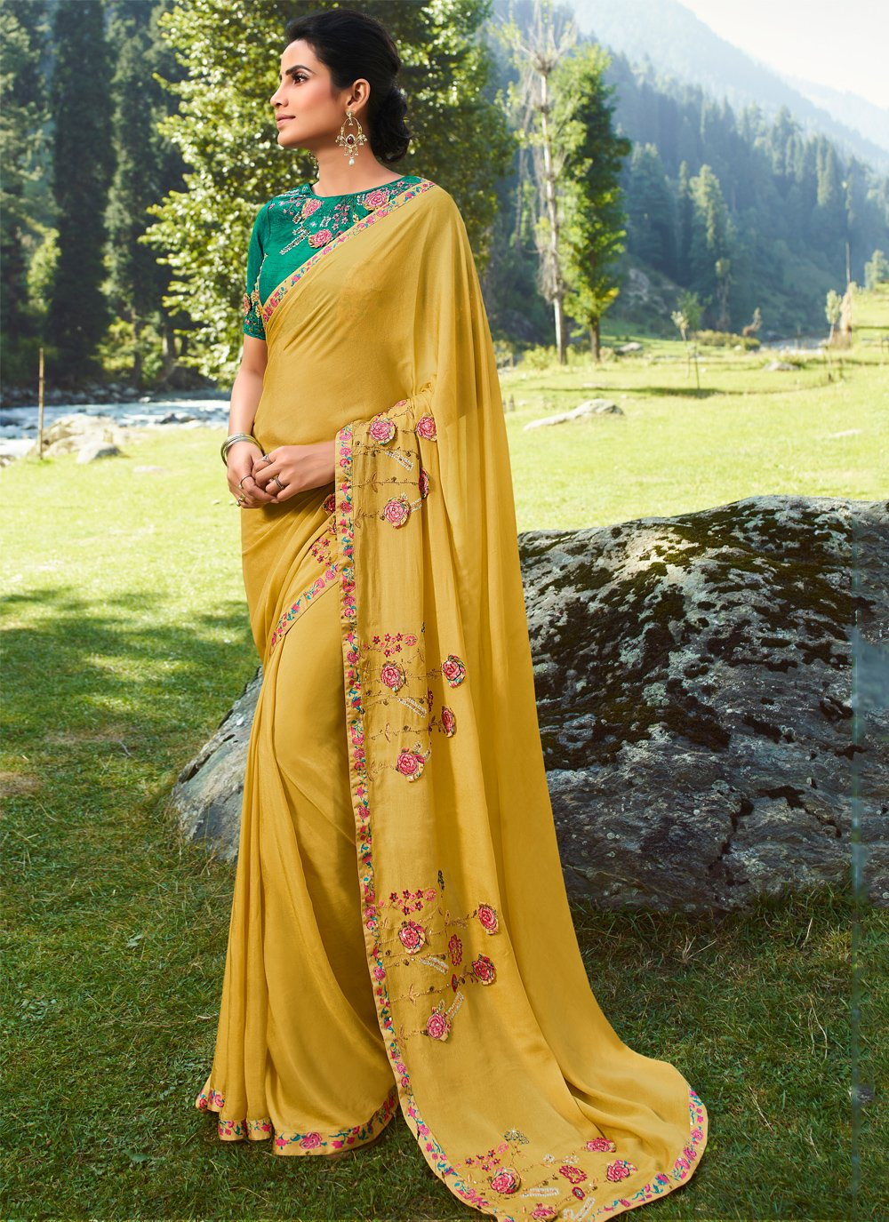 Silk Embroidered Classic Saree in Mustard