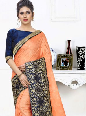 Silk Embroidered Classic Saree in Orange