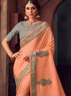 Silk Embroidered Classic Saree in Peach