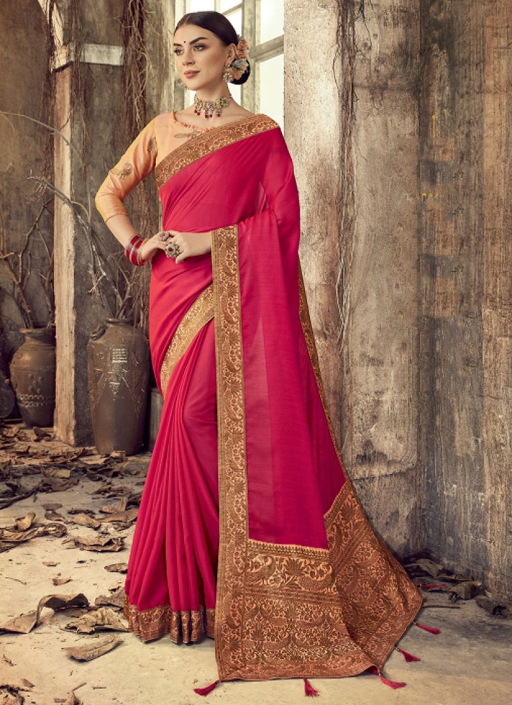 Silk Embroidered Classic Saree in Pink