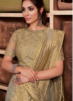 Silk Embroidered Contemporary Saree in Gold
