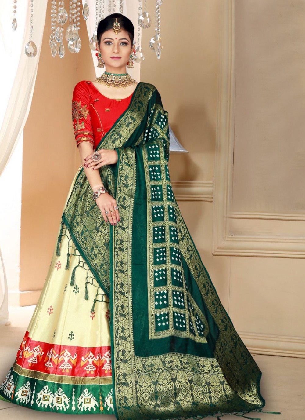 Silk Embroidered Cream Designer Lehenga Choli
