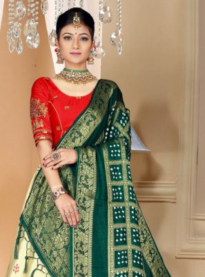 Silk Embroidered Cream Designer Lehenga Choli