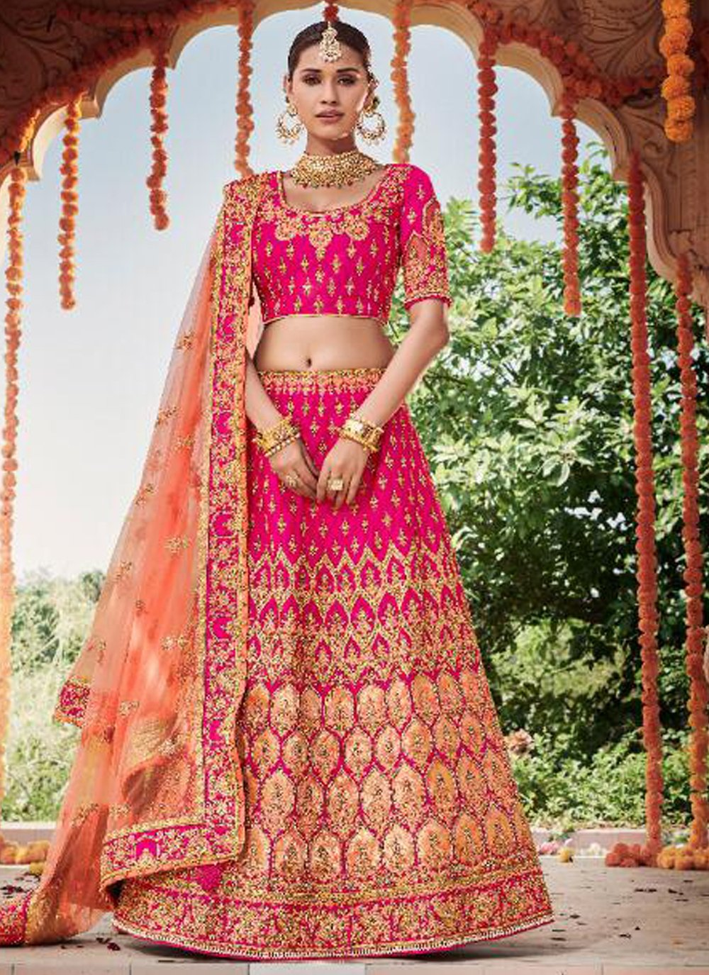 Silk Embroidered Designer Lehenga Choli in Pink