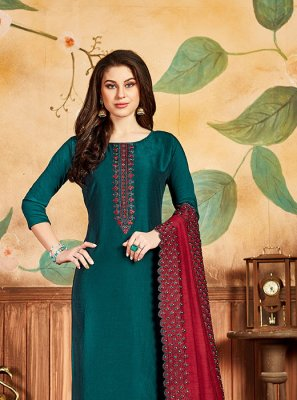 Silk Embroidered Designer Salwar Kameez