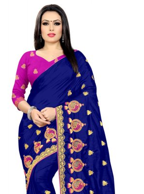 Silk Embroidered Designer Saree in Blue