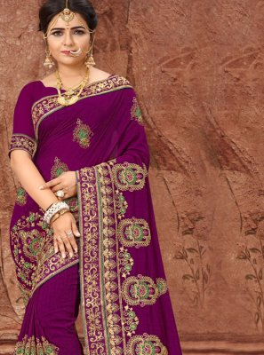 Silk Embroidered Designer Saree in Purple