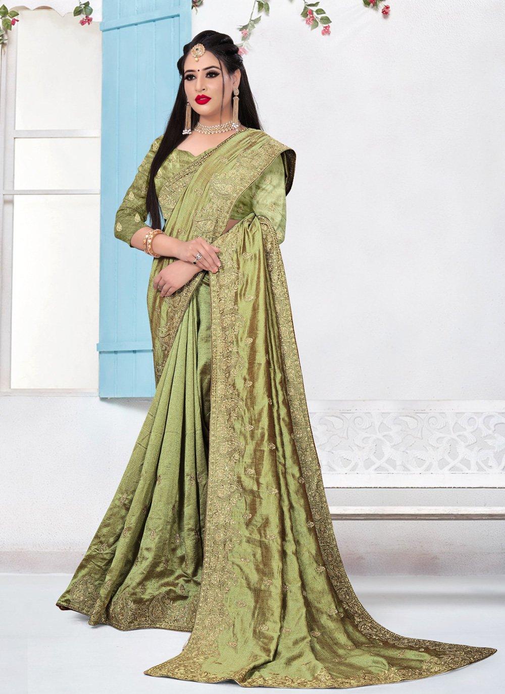 Silk Embroidered Green Bollywood Saree
