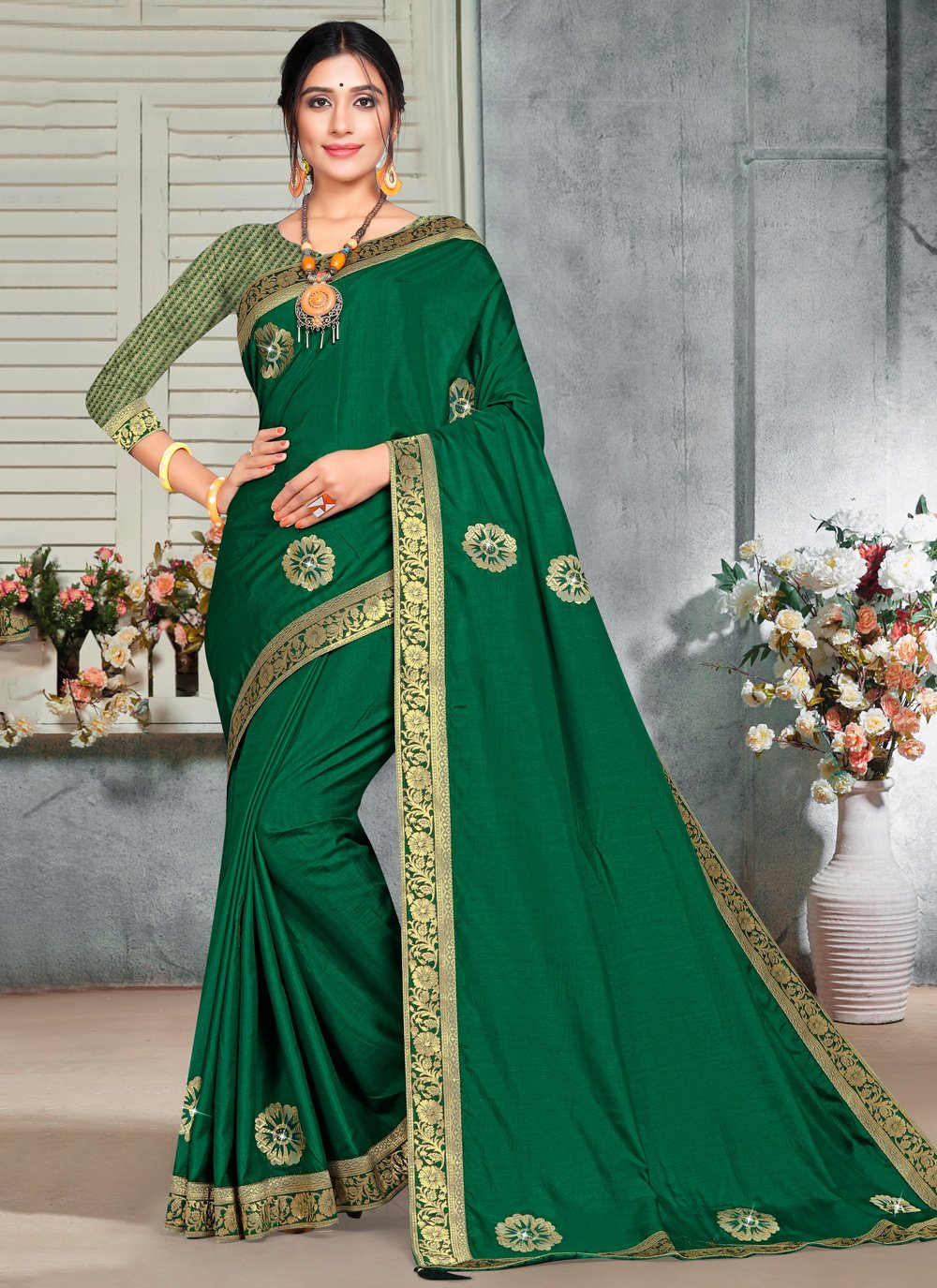 Silk Embroidered Green Casual Saree