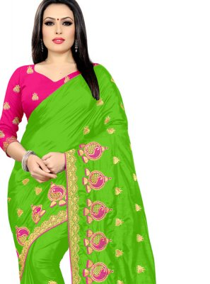 Silk Embroidered Green Classic Designer Saree