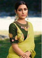 Silk Embroidered Green Classic Saree