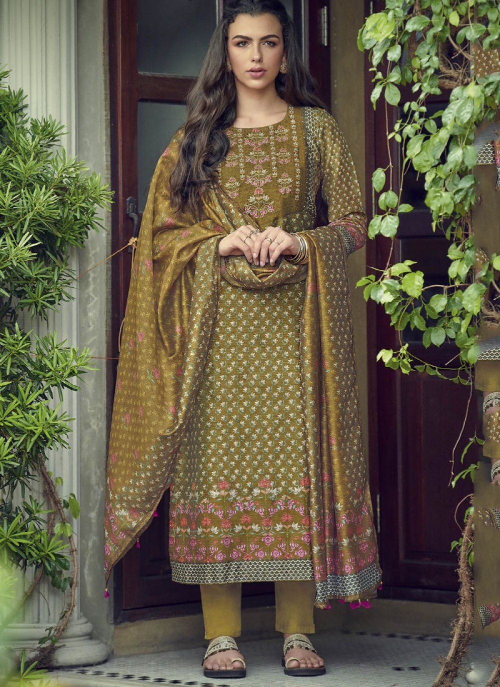 Silk Embroidered Green Designer Salwar Kameez