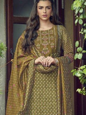 Silk Embroidered Green Designer Salwar Kameez