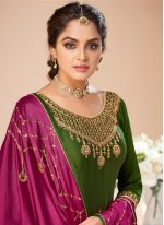Silk Embroidered Green Designer Salwar Suit