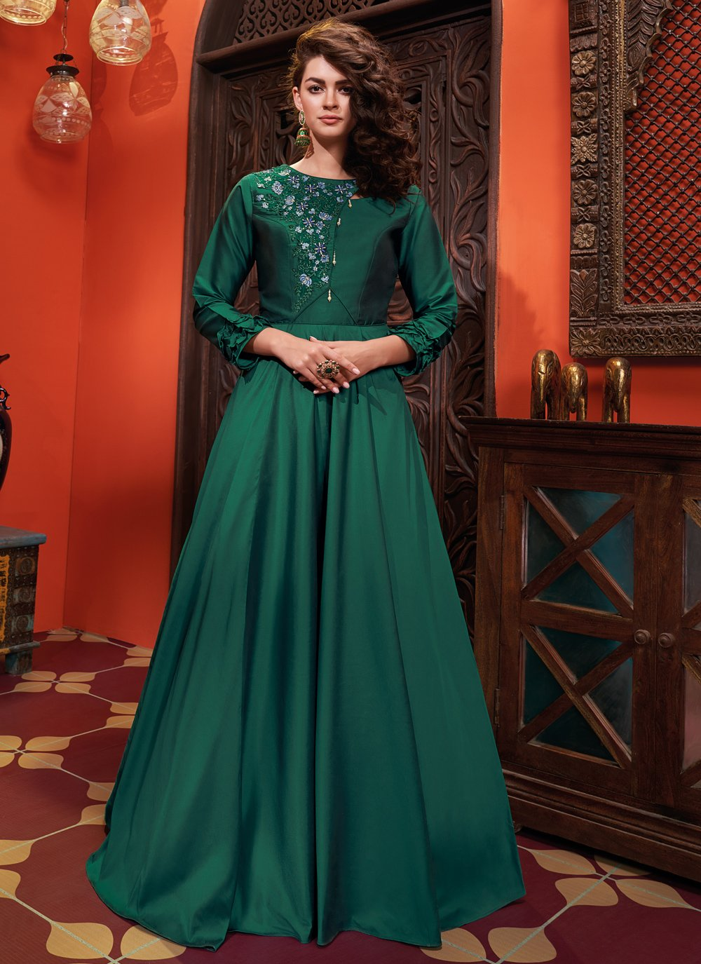 Silk Embroidered Green Readymade Gown
