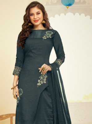 Silk Embroidered Grey Palazzo Salwar Kameez
