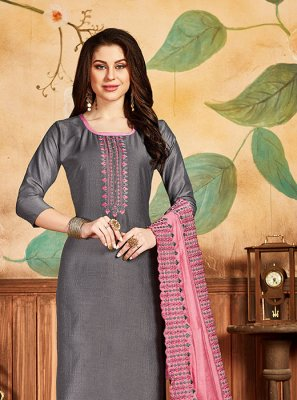 Silk Embroidered Grey Salwar Suit