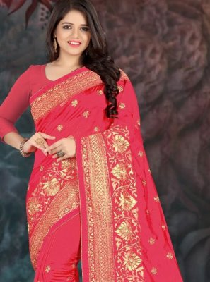 Silk Embroidered Hot Pink Traditional Saree