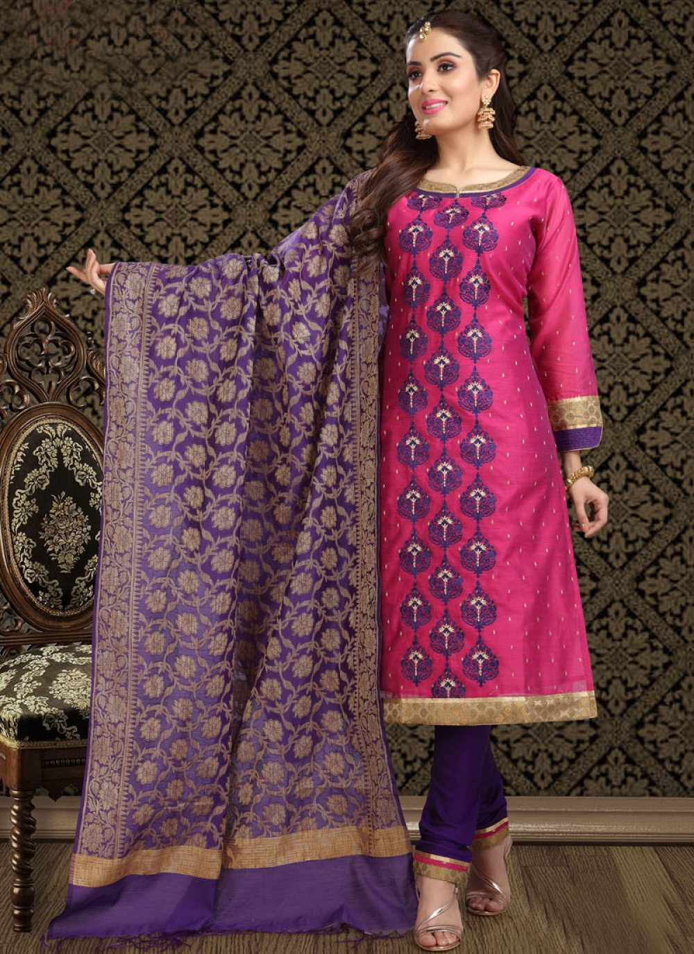 Silk Embroidered Magenta Churidar Suit