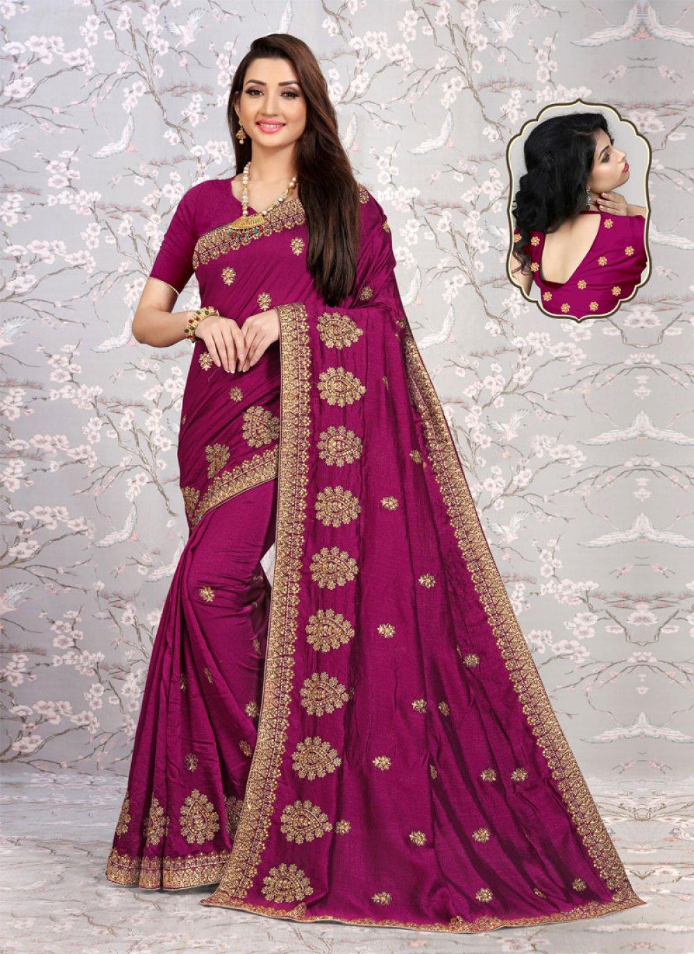 Silk Embroidered Magenta Designer Saree