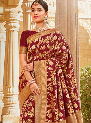 Silk Embroidered Maroon Traditional Saree