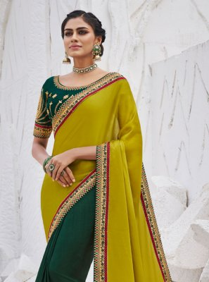 Silk Embroidered Mustard and Teal Traditional Saree