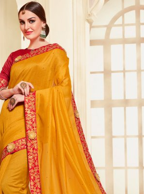 Silk Embroidered Mustard Contemporary Saree