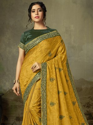 Silk Embroidered Mustard Trendy Saree
