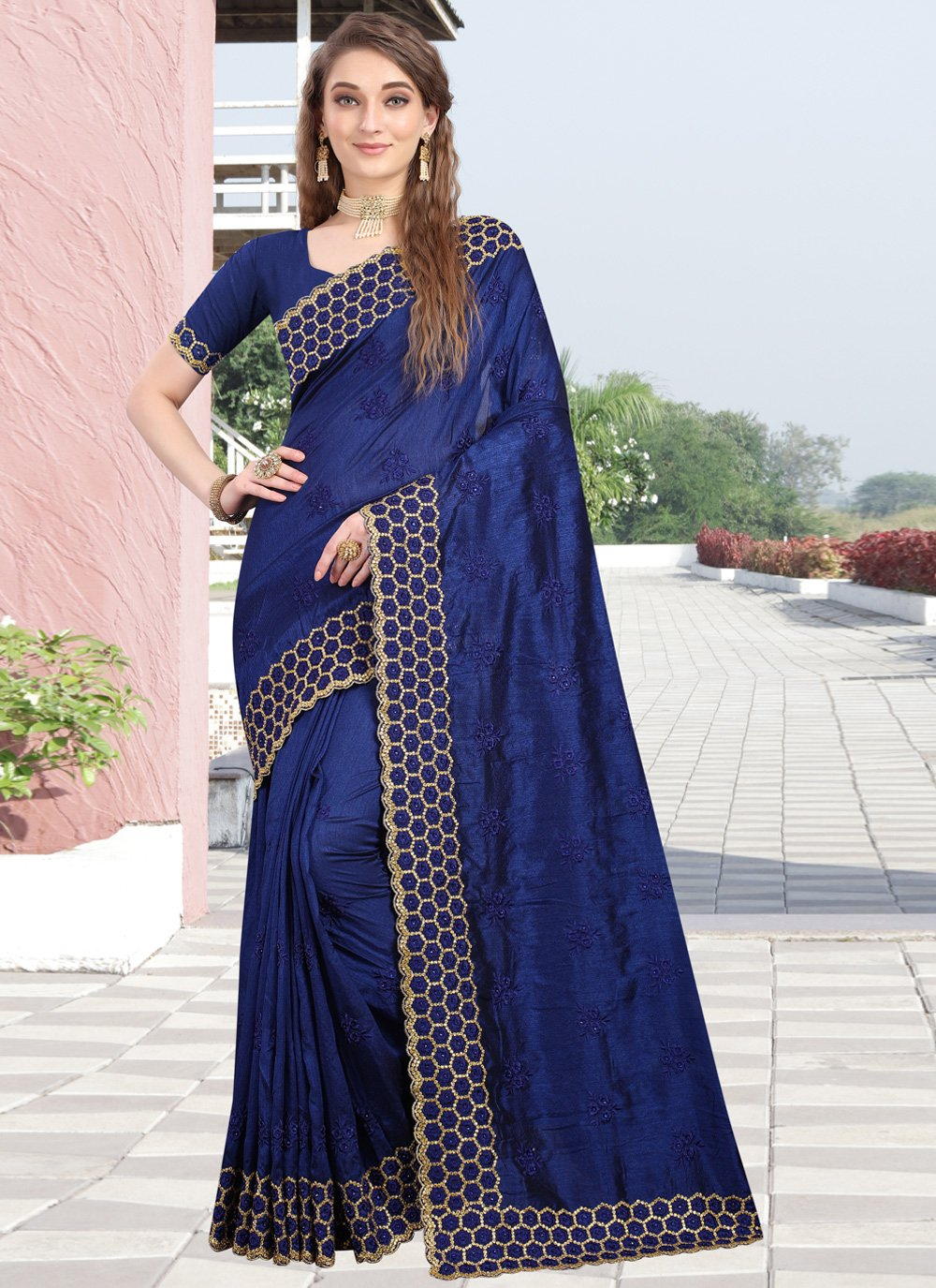 Silk Embroidered Navy Blue Contemporary Style Saree