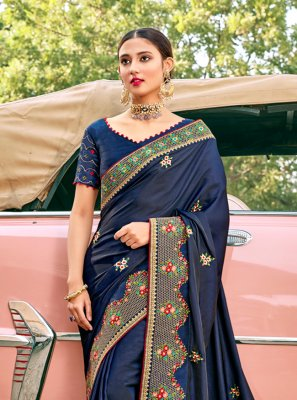 Silk Embroidered Navy Blue Traditional Saree