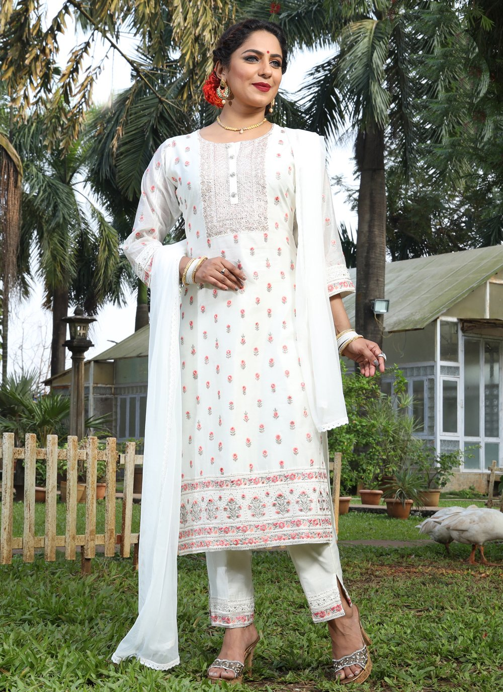 Silk Embroidered Off White Pant Style Suit