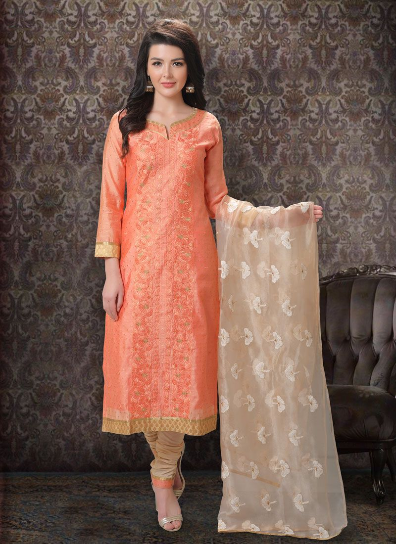 Silk Embroidered Orange Churidar Salwar Kameez