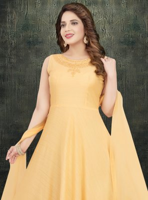 Silk Embroidered Orange Desinger Anarkali Salwar Kameez
