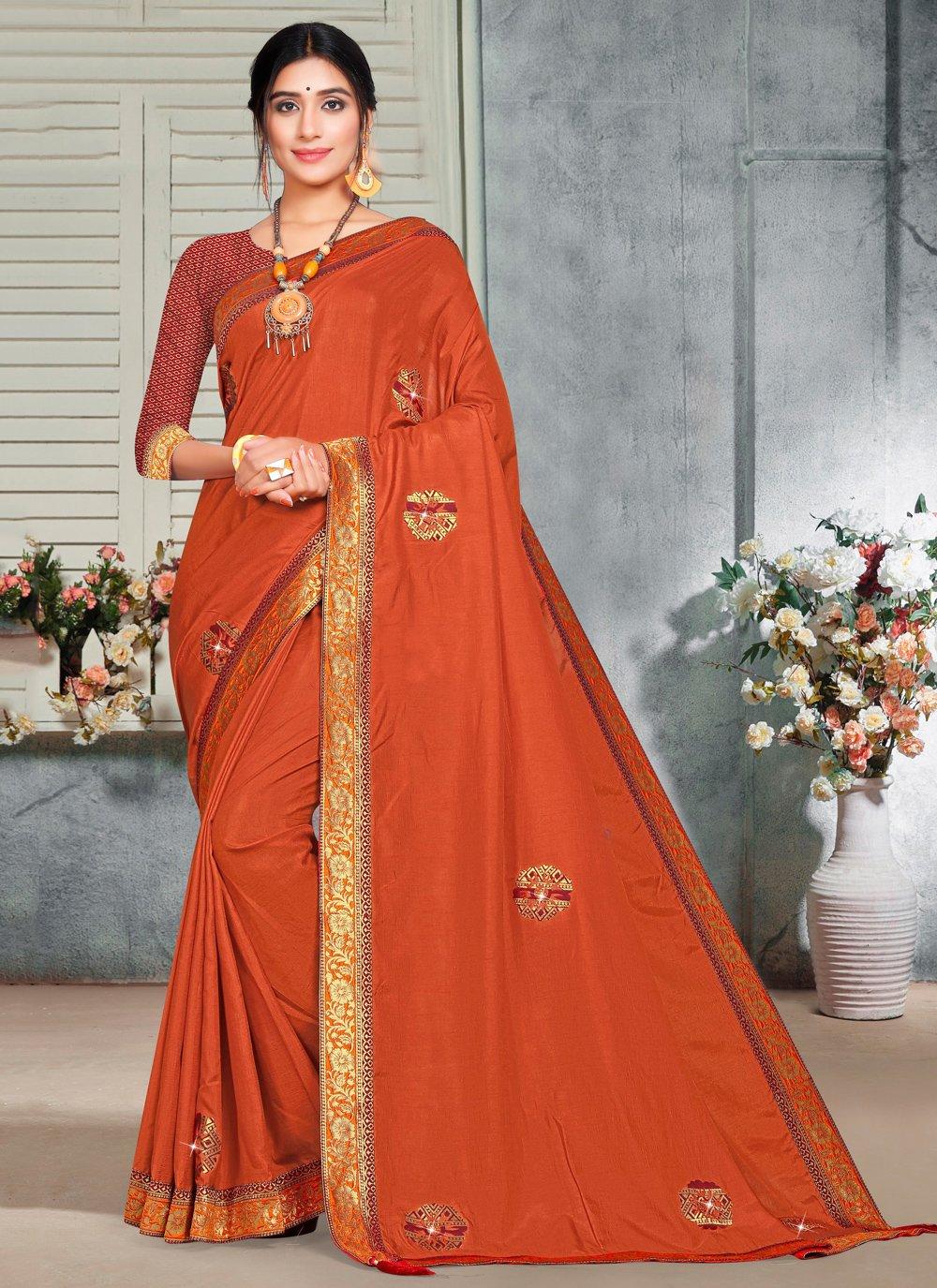 Silk Embroidered Orange Trendy Saree