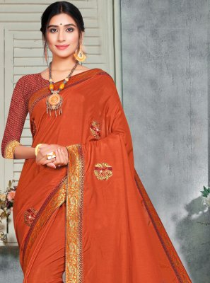 Silk Embroidered Orange Trendy Saree