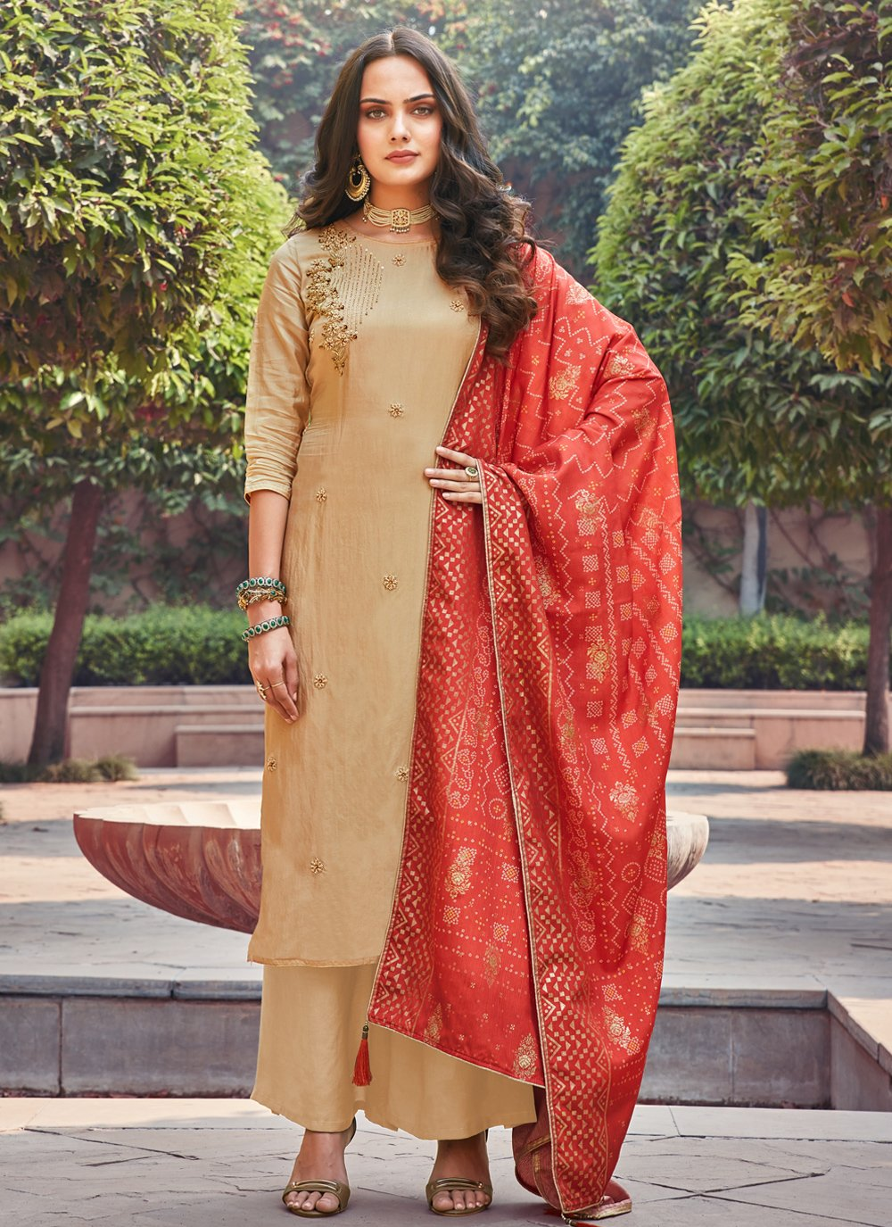 Silk Embroidered Palazzo Suit in Beige