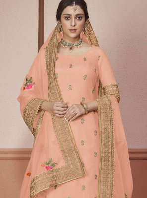 Silk Embroidered Peach Churidar Salwar Kameez